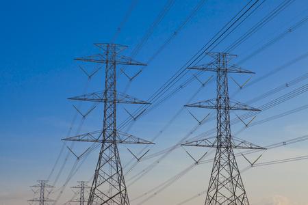 high voltage post ,High-voltage tower sky background.