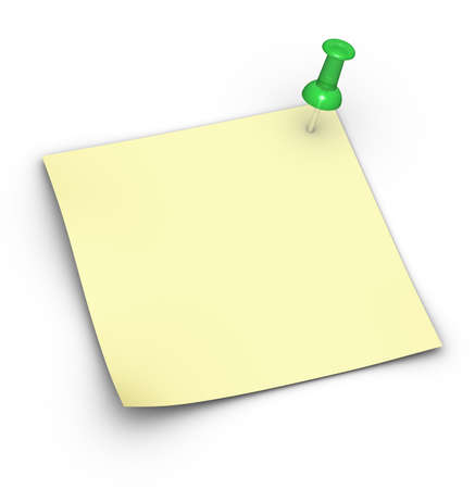 Blank yellow note (Post-It) with a pushpin photo