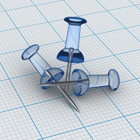 transparence: Three Glass Thumbtacks on blue graph paper Stock Photo