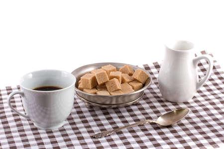 Coffee with cream and sugar photo