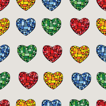 Multi color mosaic heart on beige background Vector