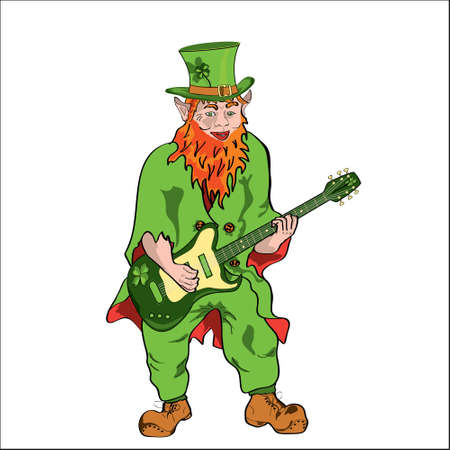 St Patrick with an electroguitar Vector