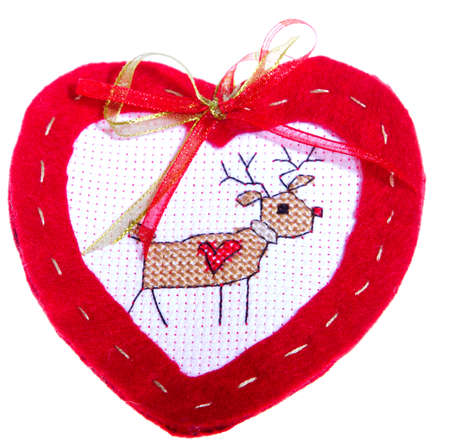 deer in heart: Red Heart Isolated on white with embroidered deer Stock Photo