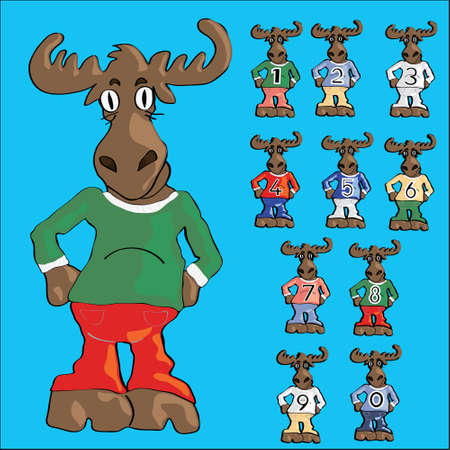 Cute moose cartoon in jeans and ten little mooses with numbers on t-shirts Vector