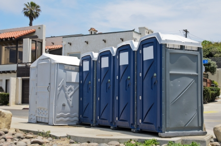 movable: Public restroom at the beach Stock Photo