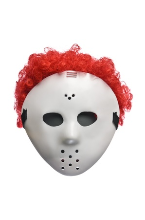 Scary Halloween Hockey Mask with Red Hair photo