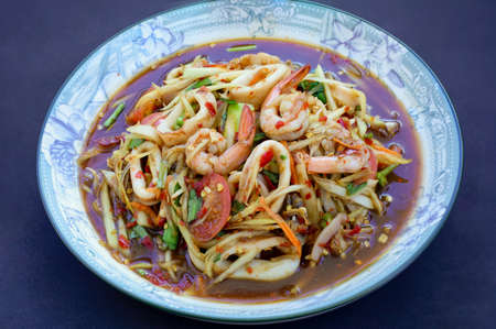 Street Food In Thailand, Papaya Salad with Seafood