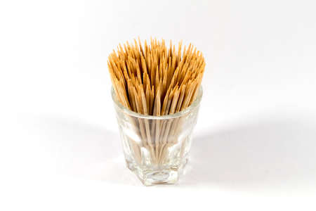 toothpick: Wooden toothpick in Glass Cup Stock Photo