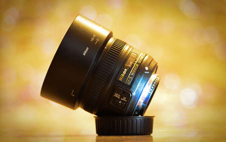 nikon 50mm 1.8g lens on the bokhe background. Editorial
