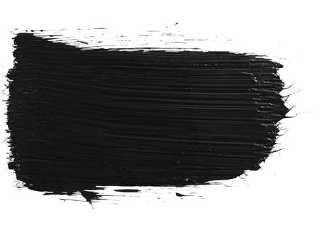 a single black paint brush stroke on white background 스톡 콘텐츠