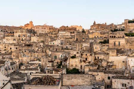 View at Sasso Caveoso (old town) of Matera, Basilicata, Italy - Euope Stock Photo