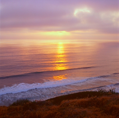 Pacific Sunset at Torrey Pines State Nature Reserve,CA Stock Photo