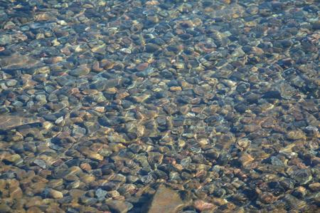 Reluciente vista de guijarros en un fondo del lago. Foto de archivo - 52511927