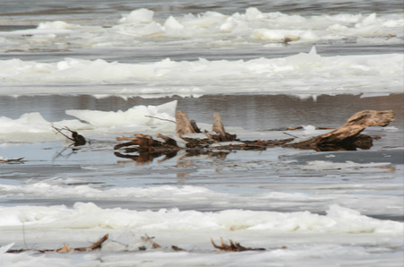 Winter Abstract On The Mississippi River - Minnesota