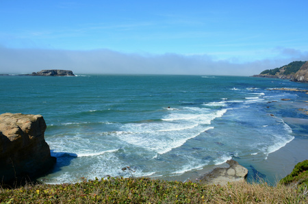 overlook: Cape Foulweather overlook on Oregon central coast. Stock Photo