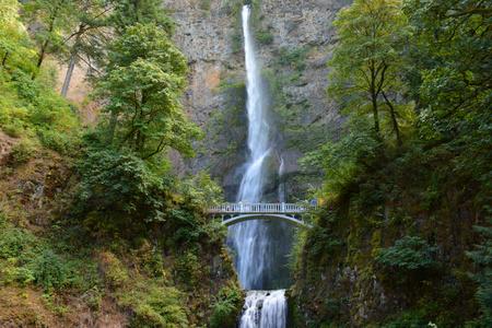 Picturesque Multnomah Falls in Columbia River Gorge.