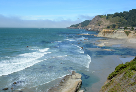 Pacific coast overlook at Cape Foulweather, Oregon. Stock Photo