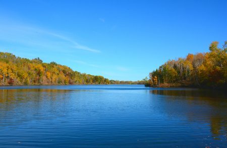 Autumn vista on a pristine scenic lake in Minnesota.