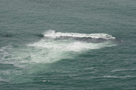 Displaying waves in Pacific Ocean impinging a rock.