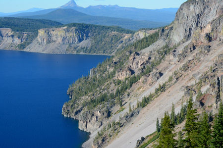 overlook: Scenic summer overlook at Crater Lake National Park.