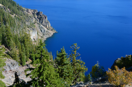 overlook: Picturesque overlook on Crater Lake National Park.