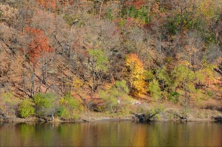 Autumn foliage along Mississippi River - Minnesota. Stock Photo