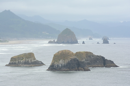 Prominent rock formations in north pacific ocean.