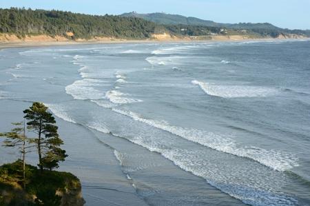 North pacific ocean panorama, Oregon central coast. Stock Photo