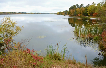Autumn vista on a scenic lake in northern Minnesota.