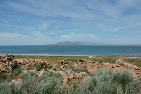 Antelope Island State Park and The Great Salt Lake. Фото со стока