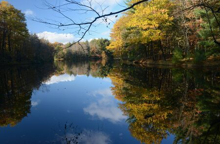 Autumn foliage reflections at Brunet Island State Park.