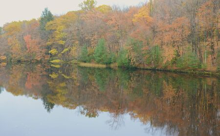 Autumn foliage river reflections at Brunet Island S.P.
