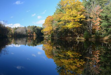 Colorful autumn scenery at Brunet Island State Park.