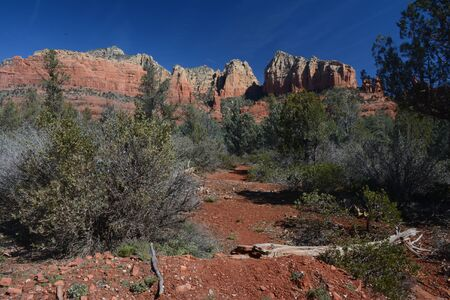 Panoramic of scenic red rock formations in Sedona. Banco de Imagens