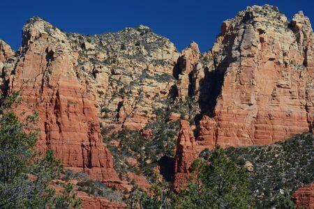 Scenic vista on lofty red rock formations in Sedona, AZ.