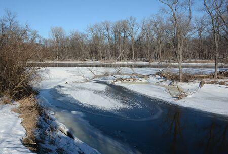 Winter flowage of Upper Mississippi River - central MN.