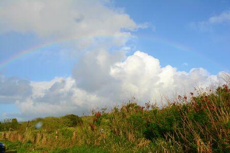 Rainbow over Haleiwa Beach on Oahu Island, Hawaii.