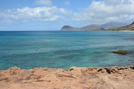 South pacific seascape on west coast of Oahu Island.