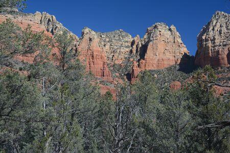 Scenic lofty red rock formations in rural Sedona, AZ.