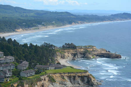 Scenic spring overlook at Cape Foulweather State Park, along the rugged Oregon central coast.