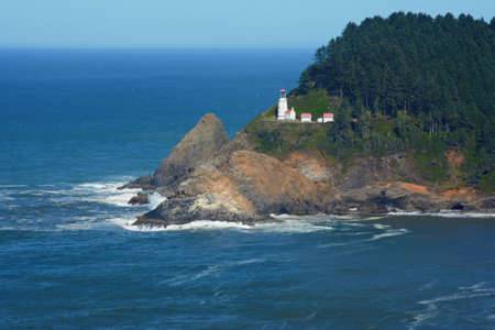 Summer vista on scenic Heceta Head Lighthouse, a historic lighthouse on the rugged Oregon central coast