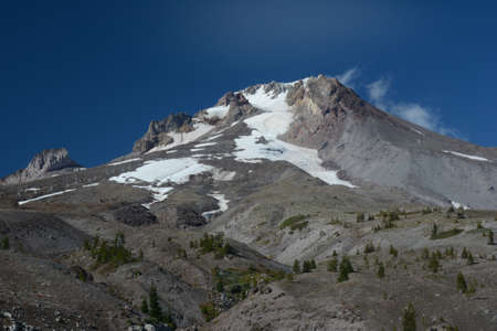 Late summer vista on majestic Mount Hood, in the scenic Cascade Range of northern Oregon.