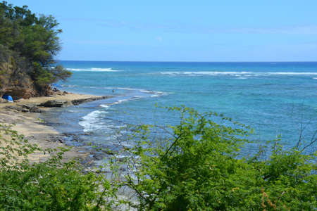 Panoramic seascape at Leahi Beach, a scenic beach park on the south coast of Oahu Island, Hawaii. Standard-Bild