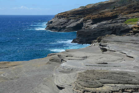 Halona Blowhole Lookout.. an iconic Pacific Ocean overlook on the windward/east coast of Oahu Island, Hawaii.