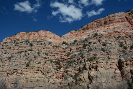 Sunny vista on some picturesque rock formations in the Verde Canyon region of northern Arizona.