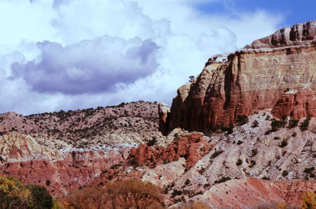 Sunny perspective on colorful rock formations at the legendary Ghost Ranch site in Abiqui, New Mexico.
