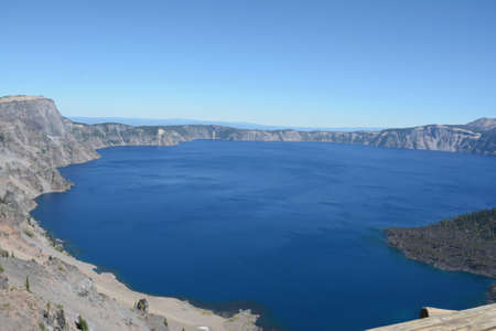 Absorbing panoramic vista on pristine Crater Lake in south central Oregon.