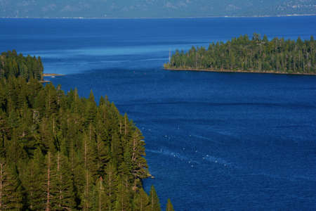 Scenic overlook of Emerald Bay at Lake Tahoe Basin, eastern California.