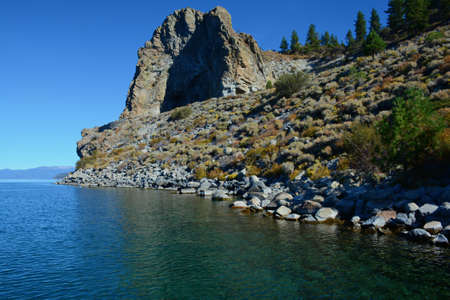 Cave Rock State Park, Nevada. Featuring a large rock formation sited on the southeastern shore of Lake Tahoe.