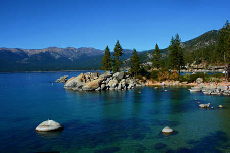 Sunny autumn vista on Lake Tahoe Basin from scenic Sand Harbor, in Lake Tahoe Nevada State Park.